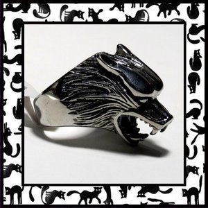 Men's Stainless Steel Wolf Head Ring. Size 10
